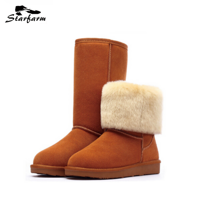 STARFARM Snow Boots Genuine Leather Warm Shoes Russian Boots Winter Shoes Women Shoes Woman Boots Chic Bootie Wool Boots New UGS<br>