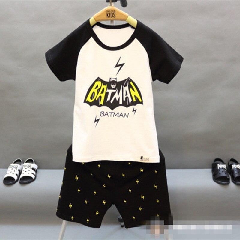 2016 New Summer Children Boys Clothes Sets White Short Sleeve Cartoon Batman Print T Shirt Shors 2 Pcs Suit Kids racksuit 2-7T<br><br>Aliexpress