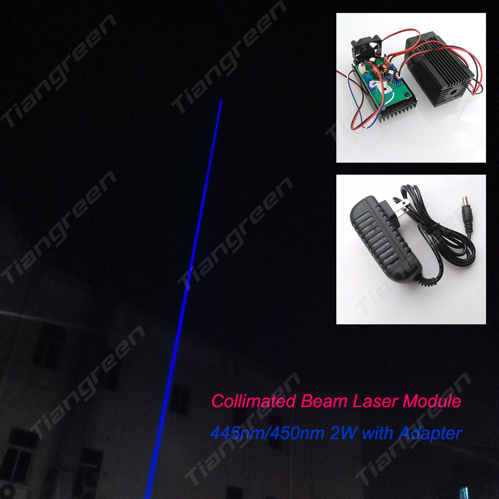 High Power Laser light 2W/2000mW 445nm/450nm blue laser pointer with TTL Driver DC12V input Free shipping(China (Mainland))