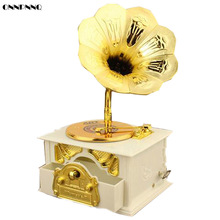 ONNPNNQ 1x Classical Retro Loudspeaker Phonograph Music Box Furniture Decoration White