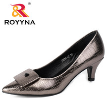 ROYYNA 2017 Fashion Style Women Pumps Spike Heels Women Shoes Sweet Pointed Toe Women Casual Shoes Metallic Color Wedding Shoes(China)