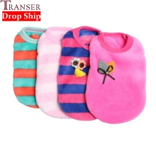 Transer Pet Dog Clothes Puppy Sleeveless Striped Soft Velvet Sweater Cute Pets Dogs Cat Winter Clothing For Small Dog 71123(China)