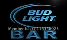 LA093- BAR Bud Beer LED Neon Light Sign home decor shop crafts(China)
