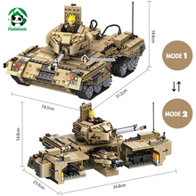 Large Military Tank 1435pcs Battlefield Building Blocks Kit Army Models Building Toy War Soldier Bricks Compatible with lego