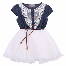 Fashion Girls Kids Princess Flower Lace Denim Tulle dress Sleeve Summer Dress
