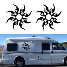 2x Tribal Sun Fire Totem Graphic Personalized Classic Fashion Modeling Car Sticker Camper Van RV SUV Trailer Truck Vinyl Decal