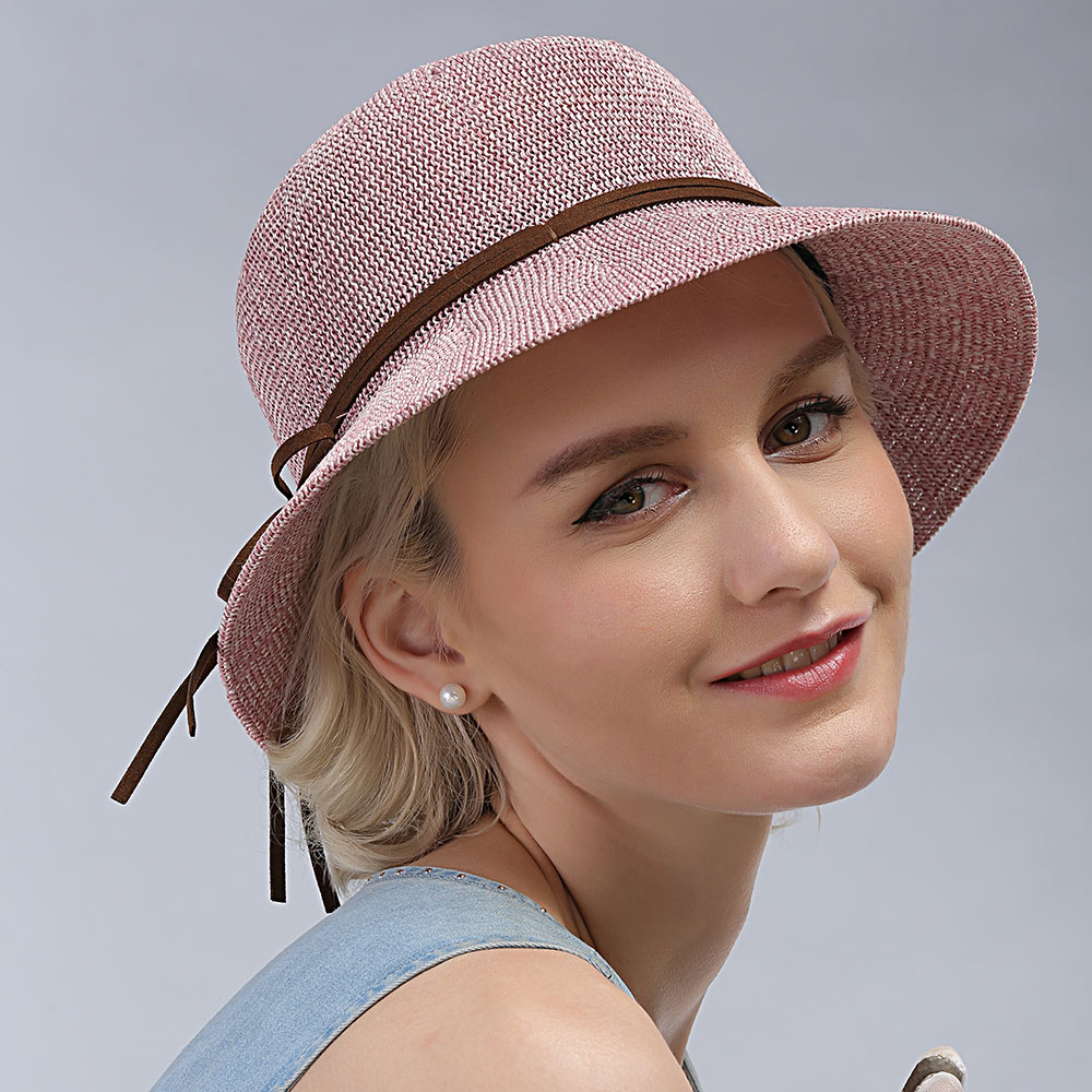 100% good queality Flat Sun Hat Women's bow Straw summer Hats For Women Beach hat 6 Colors chapeau femme boater Gift lovely hat(China (Mainland))