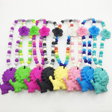 Large Lion Teether with Flower beads for Silicone baby teether Necklace ,12MM beads Silicone Carrier baby Teether Necklace(China)