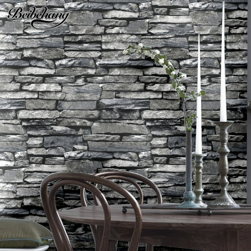 beibehang Chinese Style Retro Stone Striped Strip Wallpaper Living Room Barbecue Restaurant Restaurant Wall Background Wallpaper<br>