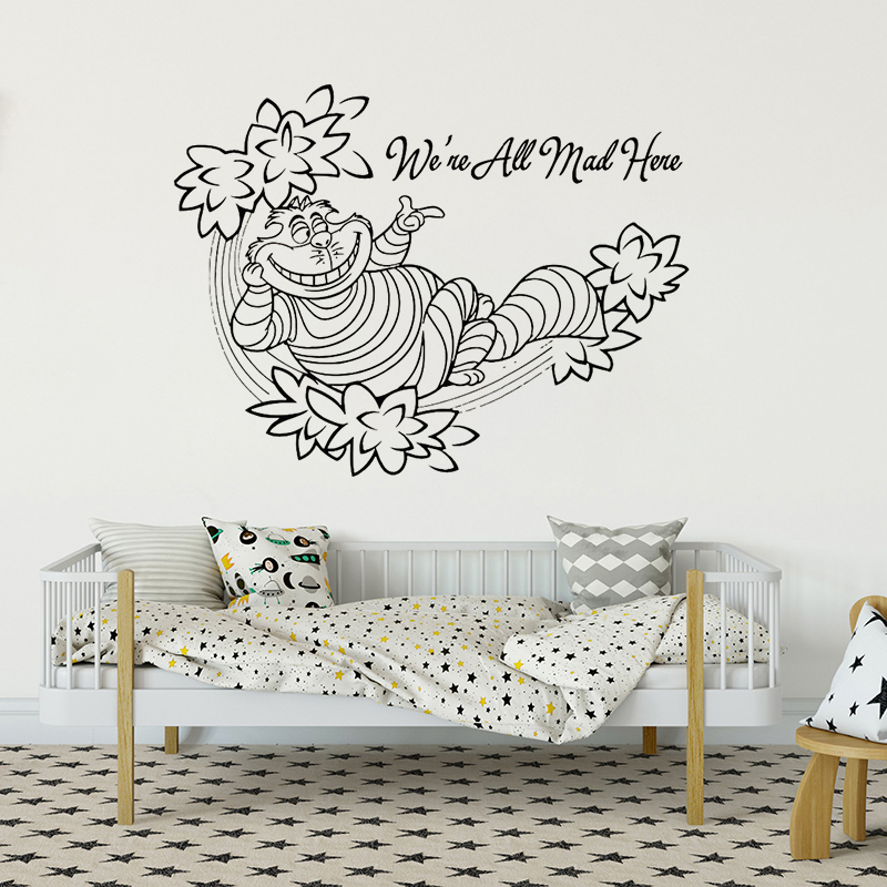 Cheshire Cat Wall Decal Quote Alice In Wonderland Wall Sticker