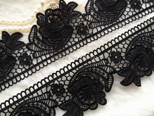 SALE Black Lace Venice Style Embroidered Lace Trim for Applique, Burlesque, Altered Couture or Jewelry Design