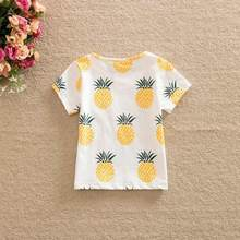 Newest Fashion Cute Baby Girls Kids t Shirts Pineapple Print Summer One-pieces Casual T-Shirt Clothes 2-6 Year