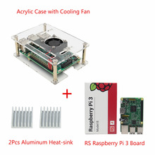 Raspberry Pi 3 Starter Kit Acrylic Case with Cooling System (Fan+Heatsink) + Pi3 Board Bingger Kit for Raspberry Pi 3(China)