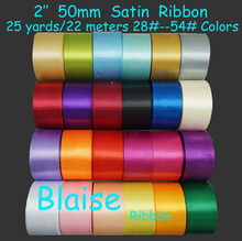 "Free shipping (25 yards/ roll) 2"" 50mm Single Face Satin Ribbon Webbing Wedding Party Festive Decaration Gift Christmas Ribbon(China)"