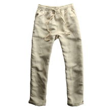 Breathable Linen Pants Men Asian Size M-3XL Casual Slim Fit Soft Men Compression Pants Summer Khaki Thin Homme Trousers
