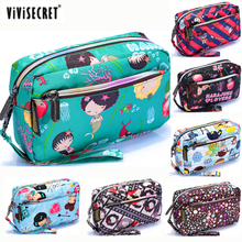 New Women Small Cosmetic Makeup Toiletry Bag Waterproof Harajuku Floral Emoji Printing Travel Organizer Pouch Designer Wallet(China)