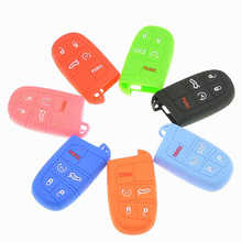 Silicon Car Key Cover For Jeep Compass Grand Cherokee Chrysler 300C Car Stickers And Decals 4 Colors For Jeep Keychain For Keys