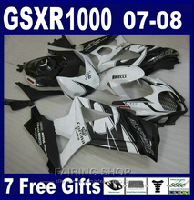 Motorcycle Hot sale fairings For Suzuki GSXR 1000 07 08 classical white black fairing kit GSXR1000 2007 2008 PG58(China)
