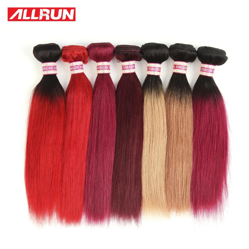 Ombre Brazilian Hair 4Bundles Straight 8a Virgin Hair Weave,1b/27,1b/30,1b/118,1b/Red,99J Red,118,Burgundy Brazilian Virgin Hair<br><br>Aliexpress