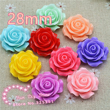 resin flat back flower cameos 28mm 10pcs for hair bow center mix color free shipping(China)