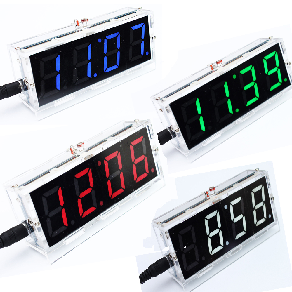 Green LED Electronic Clock Microcontroller Clock Time Thermometer DIY Kit