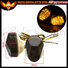 Smoke Lens Motorcycle Bike LED Turn Signals Amber Indicator Light Flasher DC12V for kawasaki ZZR600 ZX9R ZX7R ZX6R ZX636 ZX12R