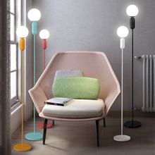 Scandinavian modern simple Maccaron led floor lamp living room bedroom study room standing lamp reading creative light fixture(China)