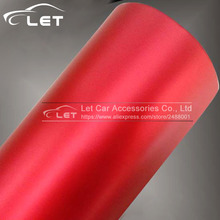 High quality Red Metallic Matt Vinyl wrap Car Wrap With Air Bubble Free Chrome Red Matt Film Vehicle Wrapping Sticker Foil(China)
