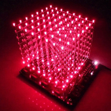 ICOCO 2017 New Arrival 3D Squared DIY Kit 8x8x8 3mm LED Cube White LED Blue/Red Light WIth PCB Board Hot Sale Wholesale