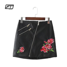 Buy Fitaylor New Autumn Winter Women Pu Leather Skirt European Styl Fashion Sexy Floral Embroidery High Waist Slim Black Mini Skirt for $17.94 in AliExpress store