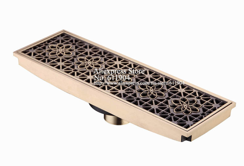 Rectangle Bathroom Linear Shower Floor DrainTrap Waste Grate Strainer Antique Brass Flower Carved<br>