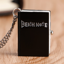 Hot Japanese Death Note Shape Black Suqare Quartz Fob Pocket Watch For Men Woman Children Drop Shipping Wholesale(China)