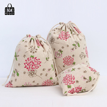 1pcs Red dandelion cotton linen fabric dust cloth bag Clothes socks/underwear shoes receive bag home Sundry kids toy storage bag(China)