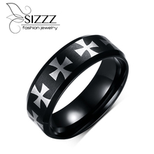 SIZZZ Black IP Center Iron Cross Laser Etched Ring for Men Stainless Steel Male Jewelry