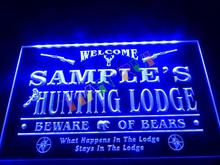 DZ042- Name Personalized Custom Hunting Lodge Firearms Man Cave Bar Neon Sign hang sign home decor shop crafts(China)