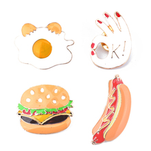 2017 New Brand Cartoon Food Hamburger Hot Dog Boiled Egg OK Gesture Brooch Denim Girl Jacket Buckle Shirt Badge Fashion Gift(China)