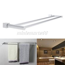 Free Shipping 60cm Modern Space Aluminum Bathroom Towel Bar Double Towel Rack Square Bathroom Accessories Towel Holder(China)
