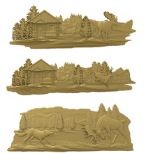 3 pieces deer 3D model relief STL model for CNC Router carving engraving artcam type3 aspire M364