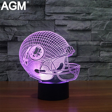 NEW NFL Football Table lamp 7 Colors Touch Washington Redskins Sleeping Lamparas illusion Light Acrylic USB 3D LED NightLight