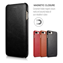XOOMZ for iPhone 7 Plus Case Apple Genuine Leather Case for iPhone 7 7 Plus Protective Case Cover Magnetic Flip Cell Phone Case(China)