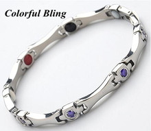 female stainless steel magnetic purple and pink rhinestone charm germanium titanium health balance bracelet energy for women(China)