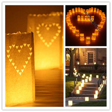 20pcs/lot Heart light Holder Luminaria Paper Lantern Candle Bag For Party Home Outdoor Wedding Decoration Free Shipping