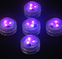 20pcs/lot Submersible Led tea light underwater Waterproof tealight Wedding Party floral Vase candle centerpiece decor-PURPLE