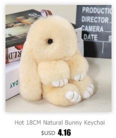 Hot Plush Rabbit Keychain Cute Fluffy Bunny Rex Genuine Rabbit Fur Pompon Hare Key Ring Car Pom Pom Toy Doll Bag Charm For Women
