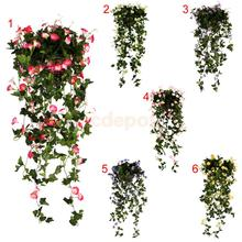 Various Colors 90cm Artificial Silk Flower Hanging Petunia Home Party Decor(China)