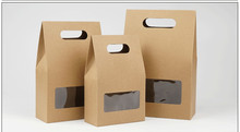 DHL 150Pcs 10.5*15+6cm Bottom Stand Up Kraft Paper Handle Storage Bags With Clear Window For Nuts Food Snack Doypack Pouches
