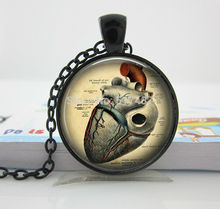 Anatomical Heart Necklace  Anatomy Jewelry. Anatomy Heart. Glass Heart Pendant.Gunmetal Jewelry. Handmade Jewelry HZ1