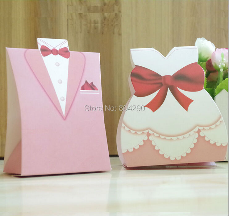 pink bridal gift cases groom tuxedo dress wedding supply and gift wedding candy box 200 pcs free shipping