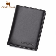 Finkrs Brand 2017 Genuine Leather Short Men Standard Wallets Ultra Thin Wallet Soft Men's Money Clip Purses Free Shipping