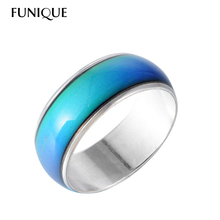 FUNIQUE Fashion Creative Mood Ring for Women Jewelry Gift Colors Change Ring With Your Emotion Temperature Feeling Ring 8mm Wide(China)